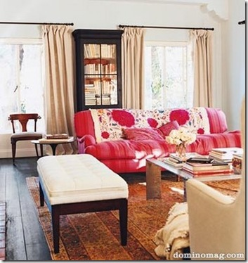 swish and swanky via domino amanda peet living room