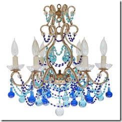 1st Dibs Fernworks Antiques Italian 30s blue beaded chandedlier
