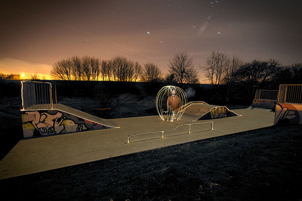 Surreal Skatepark Light Paintings
