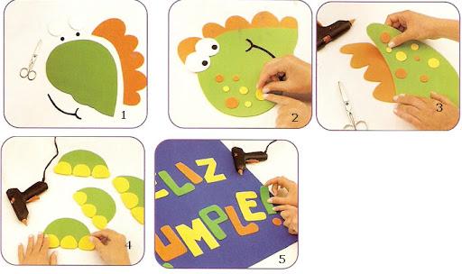 Cartel De Bienvenida Al Plea  Os Con Dinosaurio De Goma Eva