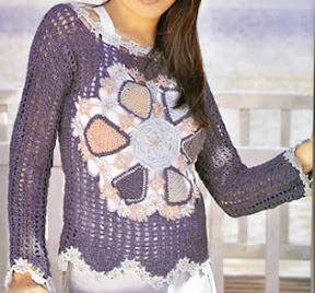 Sueter tejido a crochet super femenino