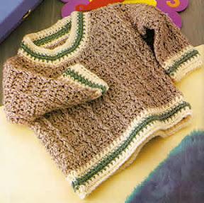 Sueter con cuello redondo tejido a crochet para bebe de 3 a 6 meses