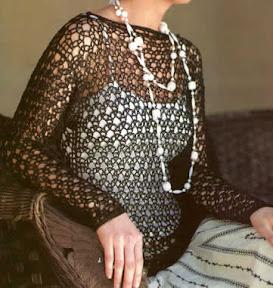 Sueter con transparencia tejido a crochet