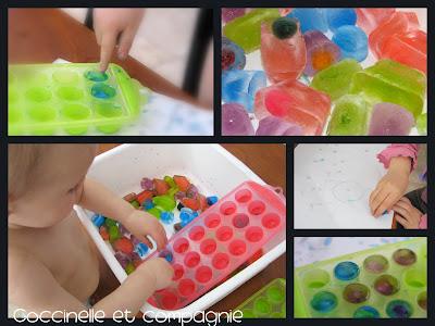 Bac de glaces colorées