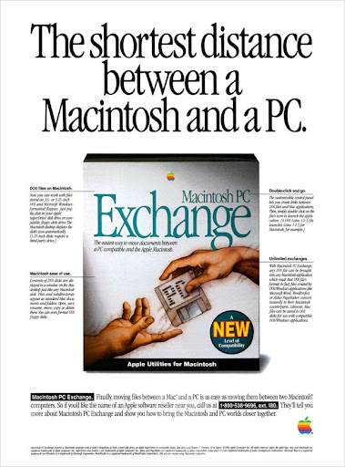 Publicidad Apple: The shortest distance between Macintosh and a PC
