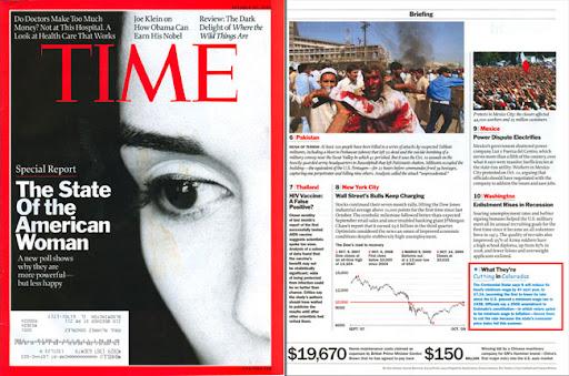Portada y pagina de la revista Time usando Comic Sans
