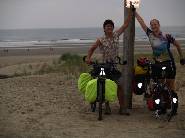 Finishing coast to coast in Cannon Beach, Oregon with 3,570 miles for me and 3,755 for Chase.