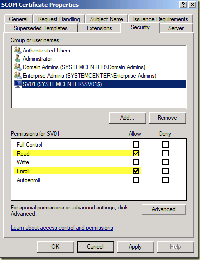 Thoughts on azure oms scom windows server 2008 r2 ca scom select the server and select as permissions read and enroll yelopaper Gallery