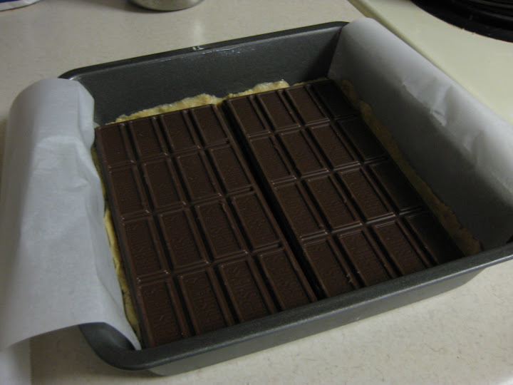Chocolate bars in the pan