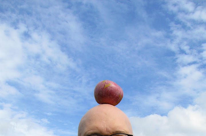 an apple on a head, blue sky in background