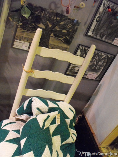 Ladder back chair and quilt