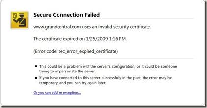 grandcentral ssl error