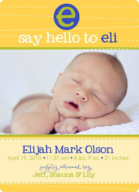 eli's birth announcement copy