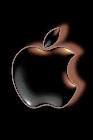 Black Apple Logo on Black Background For iPhone