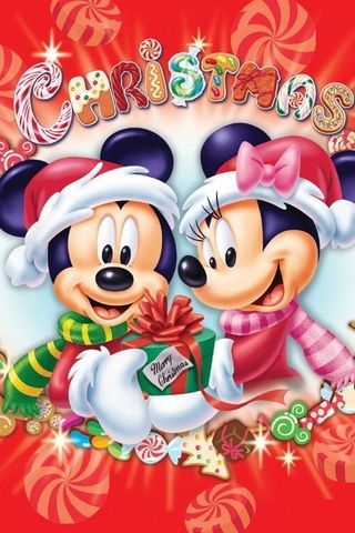 Mickey and Minnie Mouse Merry Christmas iPhone Wallpaper