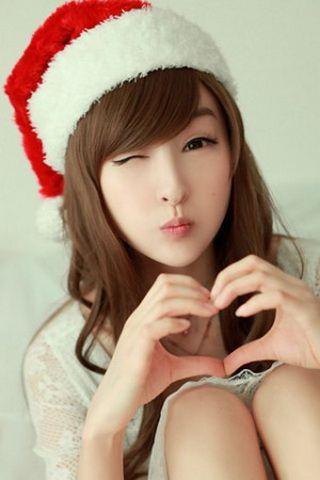 iPhone Wallpaper Cute Santa Claus Girl Photo