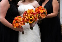 orange red and green bouquets