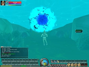 Lime Odyssey character swimming underwater