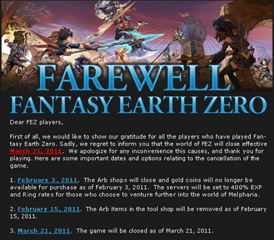 Fantasy Earth Zero is closing