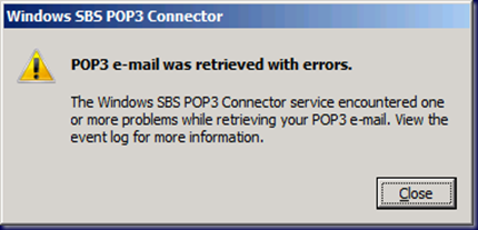 09-03-17 SBS 2008 - POP3 Connector - 2 - mail was retrieved with errors