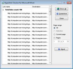 Hyperlink Checker for Microsoft Word