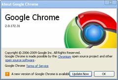 new version of Google Chrome