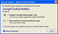 IE alerts change to default search provider