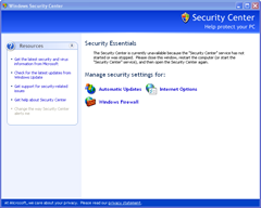 security center unavailable