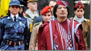 Gaddafi's an all-female, gun-toting posse of virgins.