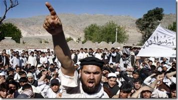 Afghan protestors shout anti-U.S. slogans during a demonstration in Jalalabad, Afghanistan, April 3
