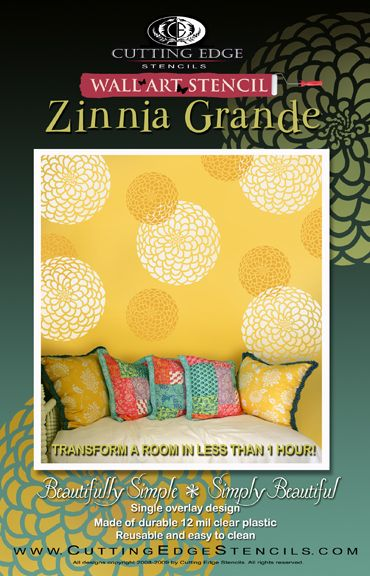 Zinnia stencil flower