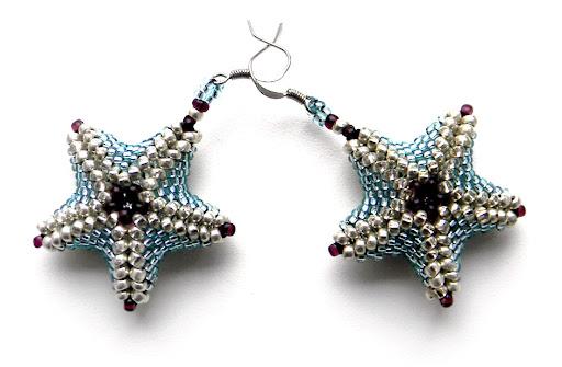 серьги из бисера Anabel морские звезды объемные