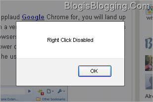 Disable Right Click Blogger Widget