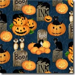 Pumpkin Hollow - Pumpkins, Cats & More Blue #93066-489