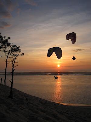 Dune de Pyla - Flug im Sonnenuntergang