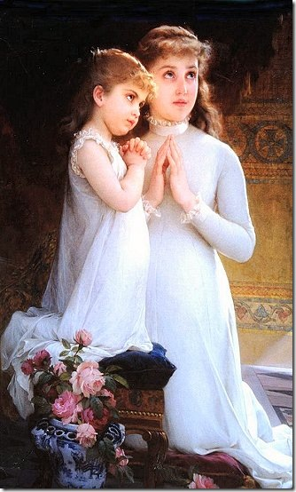 Two Girls Praying, by Emile Munier (1840-1895)