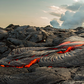 Lava and Smoke by Warren Fintz - Landscapes Caves & Formations ( surface, volcano, lava, kilauea, hot, hawaii,  )
