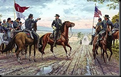 Buford confers with brigade commanders on the Chambersburg Pike