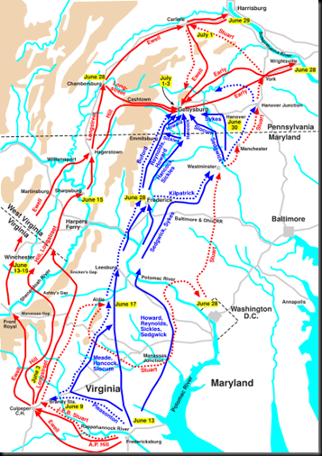 Confederate and Union routes to Gettysburg