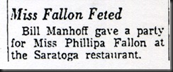 Miss Fallon Feted