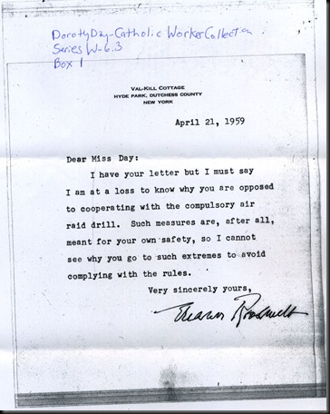 Eleanor Roosevelt Ltr-Dorothy Day