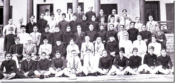 Mr Jinnah with Kashmiri alumni of Aligarh University in Srinagar, 1944