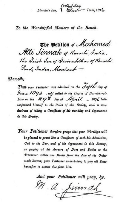 Mr Jinnah in Lincoln's Inn - Petition for a certificate, 1896