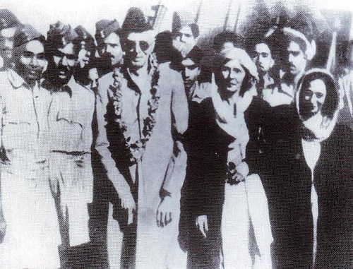 Quaid-e-Azam with Fatima Jinnah and Mumtaz Shahnawaz