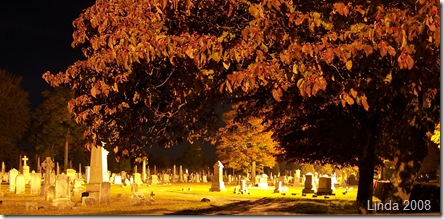 Yantic Cemetery with floodlights