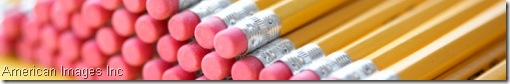 pencil erasers in line