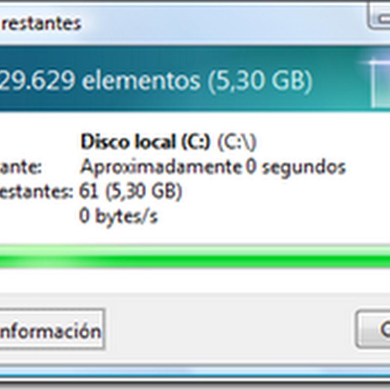 Velocidad de Borrado de Windows Vista