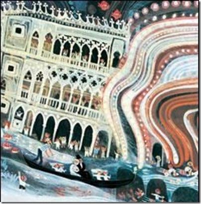 illustrazione dal libro sogno a venezia di Stepan Zavrel