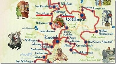 particolare della mappa della strada delle fiabe in Germania