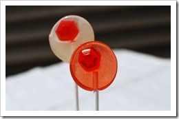 coconut-ginger and peach-ginger lollipops